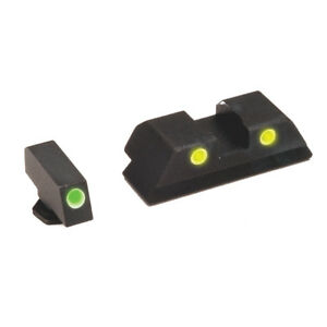 AmeriGlo-GL-115-Tritium-Night-Sights-Glock-17-19-22-26-34-Green-Yellow-Three-Dot