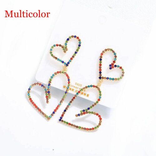 Crystal Double Heart Earrings Contracted Joker Long Women Drop earrings Jewelry~