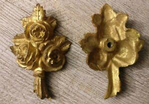 1-Bronze-dore-d-039-ameublement-ancien-bouquet-de-fleurs-Fin-19-eme