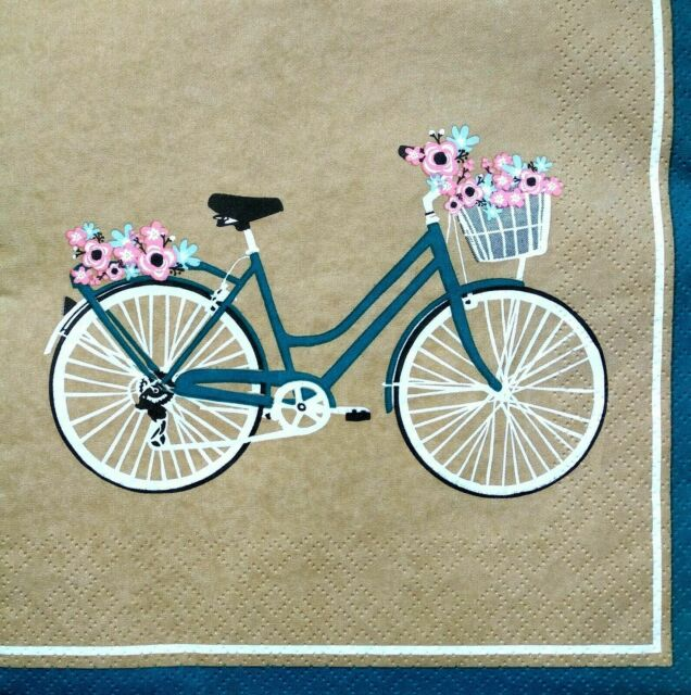 4x Paper Napkins for Decoupage Decopatch Craft Blue Garden Bicycle Butterfly
