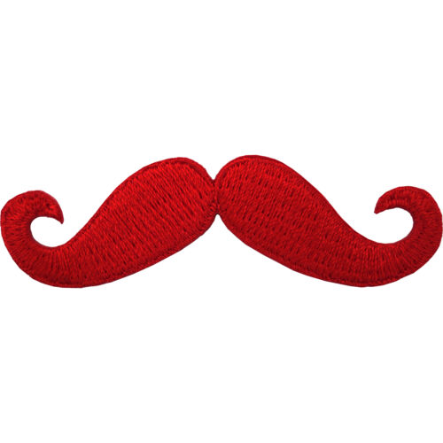 Moustache Embroidered Patch Iron Sew On T Shirt Hat Badge Red Monopoly Mustache