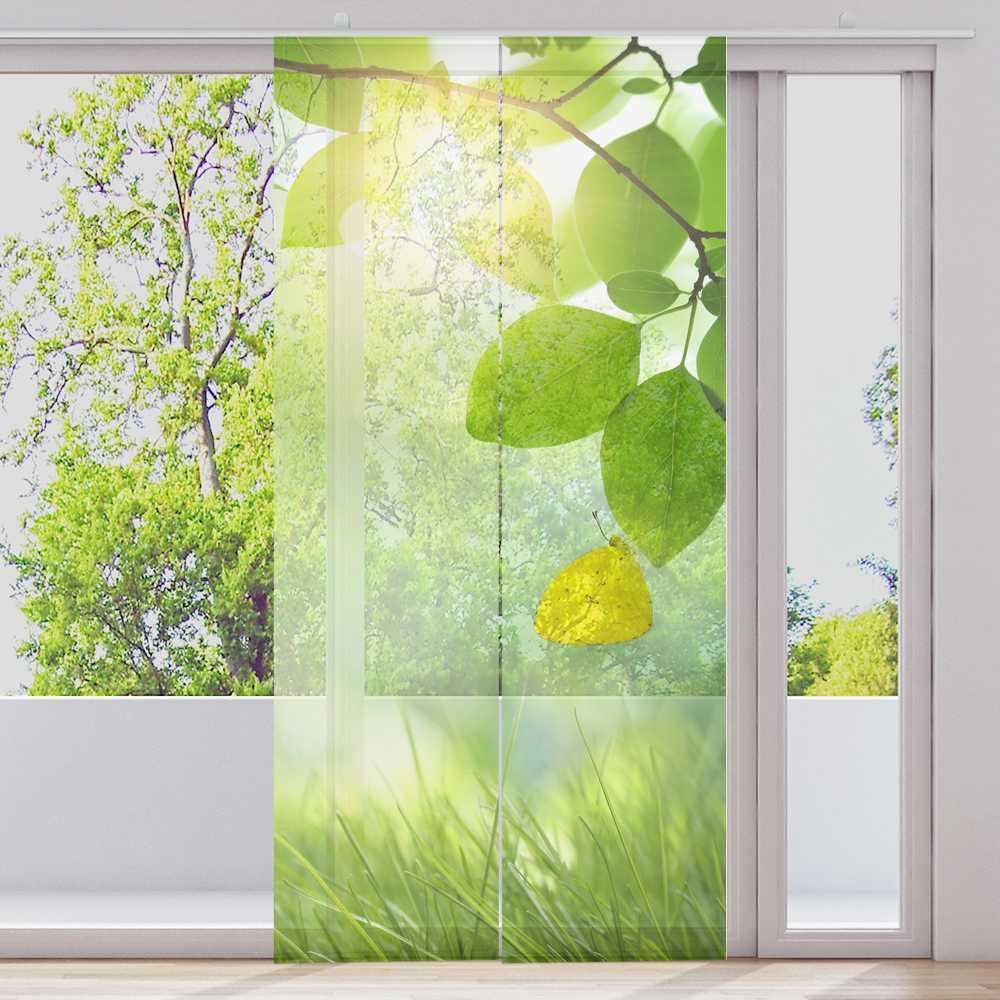 Barre rideau rideau rideau 2 pièces par 60x245cm transparent motif