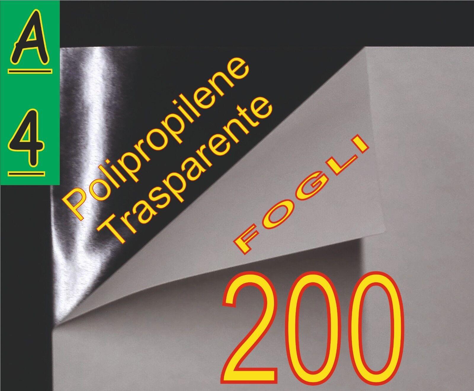 200 FOGLI PELLICOLE ADESIVE TRASPARENTE LUCIDA PERMANENT 21X29,7 STAMPANTI LASER