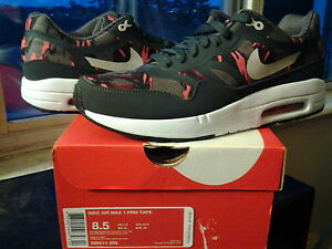 Nike Air Max 1 Premium PRM Tape Camo Brown Anthracite Atomic Red 95 b 599514 206