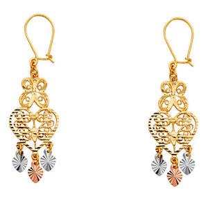 Real-14K-Yellow-Tri-Tone-Gold-Butterfly-Heart-Earrings-Ladies-Chandelier-Hanging