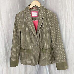 PER UNA Khaki Green Polka Dot SIZE 16 UK Button Up Corduroy Jacket Blazer