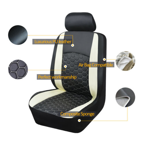 White/&Black Luxury Car Seat Covers PU Leather Fit For Universal Auto 11PCS