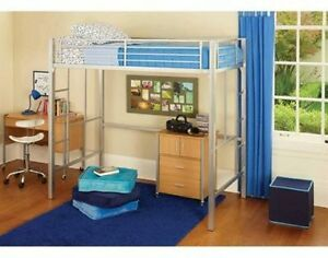 Your Zone Twin Metal Loft Bed Multiple Colors