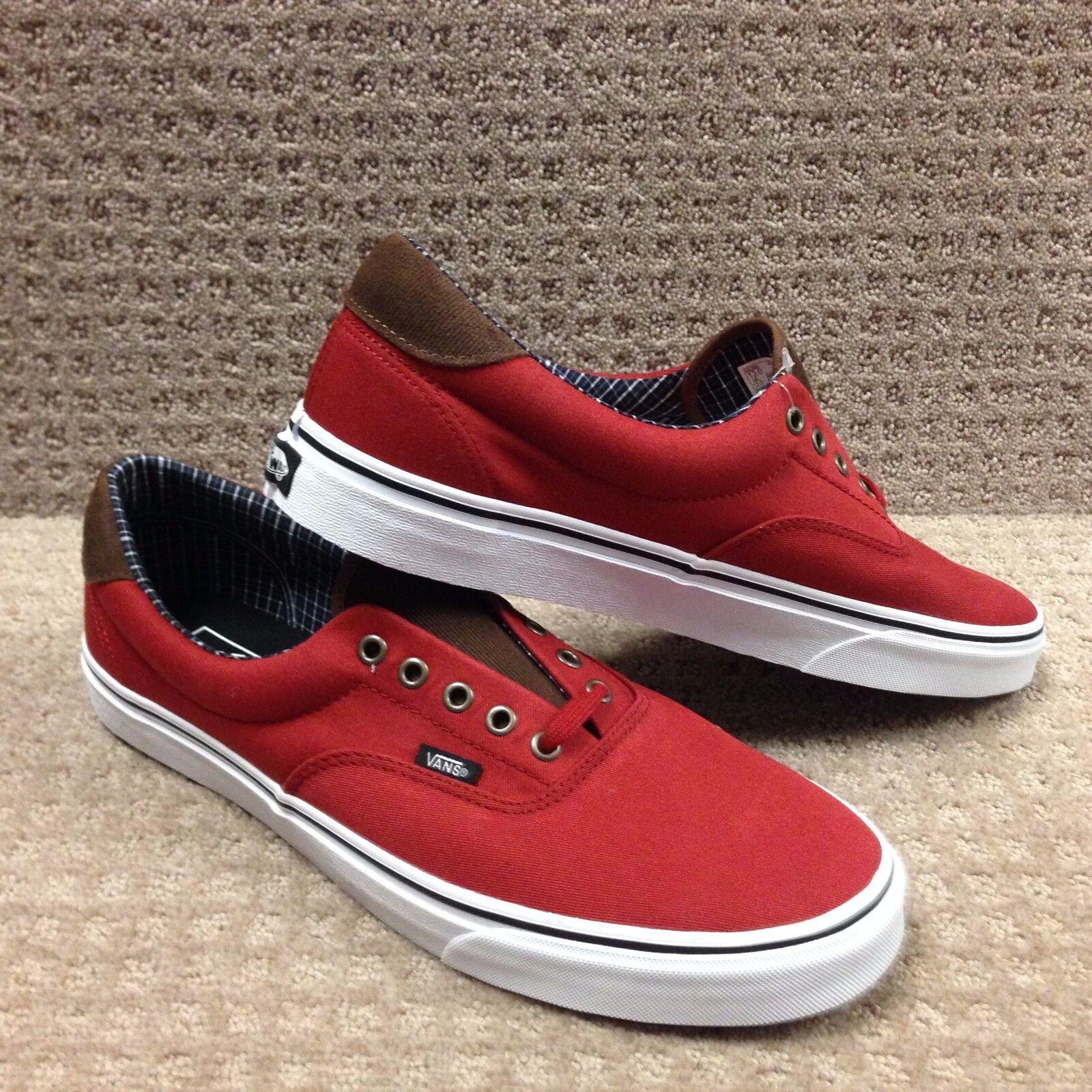 Vans Men's shoes  Era 59  -- (Cord &Plaid) Red Dahlia