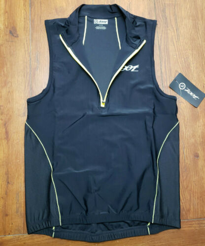 NEW Zoot Mens L Tri Tank Performance Top Black Compression Triathlon Shirt Large