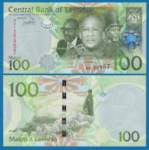 Combine FREE 24 Lesotho 100 Maloti 2013 P 24b UNC Low Shipping
