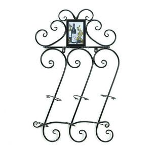 HOME-KITCHEN-DECOR-SCROLLWORK-WALL-WINE-RACK-BOTTLE-AND-GLASS-HOLDER