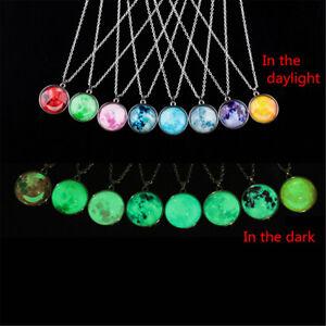 Moon-Earth-Universe-Cabochon-Bracelet-Glow-In-The-Dark-Luminous-Neckalce-Pendant