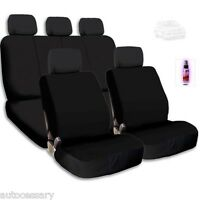 Black Cloth Car Seat Covers Support Split Rear Seat With Gift For Vw