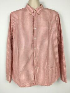 J-Crew-Mens-XL-Button-Down-Shirt-Pink-amp-White-Striped-Long-Sleeve-Casual-Cotton