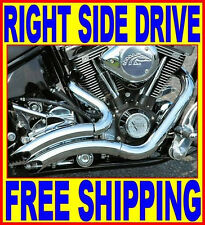 Steath CHROME EXHAUST PIPES RIGHT SIDE DRIVE RSD HARLEY CHOPPER BOBBER CUSTOM
