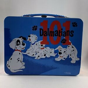 Disney 101 Dalmatians Metal Lunch Box Blue Red Tin FREE SHIPPING!