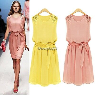 Women Cocktail Sleeveless Evening Party Dress Chiffon Short Mini Dresses M/L/XL