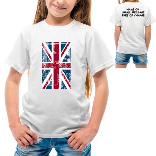 Union Jack Girls T Shirt UK British Flag Great Britain United Kingdom England