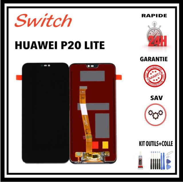 ECRAN LCD + VITRE TACTILE pour HUAWEI P20 LITE NOIR ANE-LX1 + outils + colle