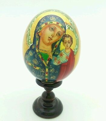 Holy Mother RELIGIOUS WOODEN EGG Russian Hand Carved Hand Painted no Nesting