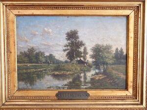 Jan Van Lokhorst- l'Ile- Environs d'Utrecht- Huile Sur Bois Et Cadre Doré XIX èm bBmeSzyx-07195741-861822605