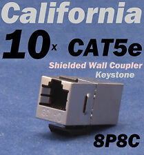 10 X pcs Lot CAT5e Shielded Inline RJ45 Keystone Wall Coupler Jack Adapter 8P8C