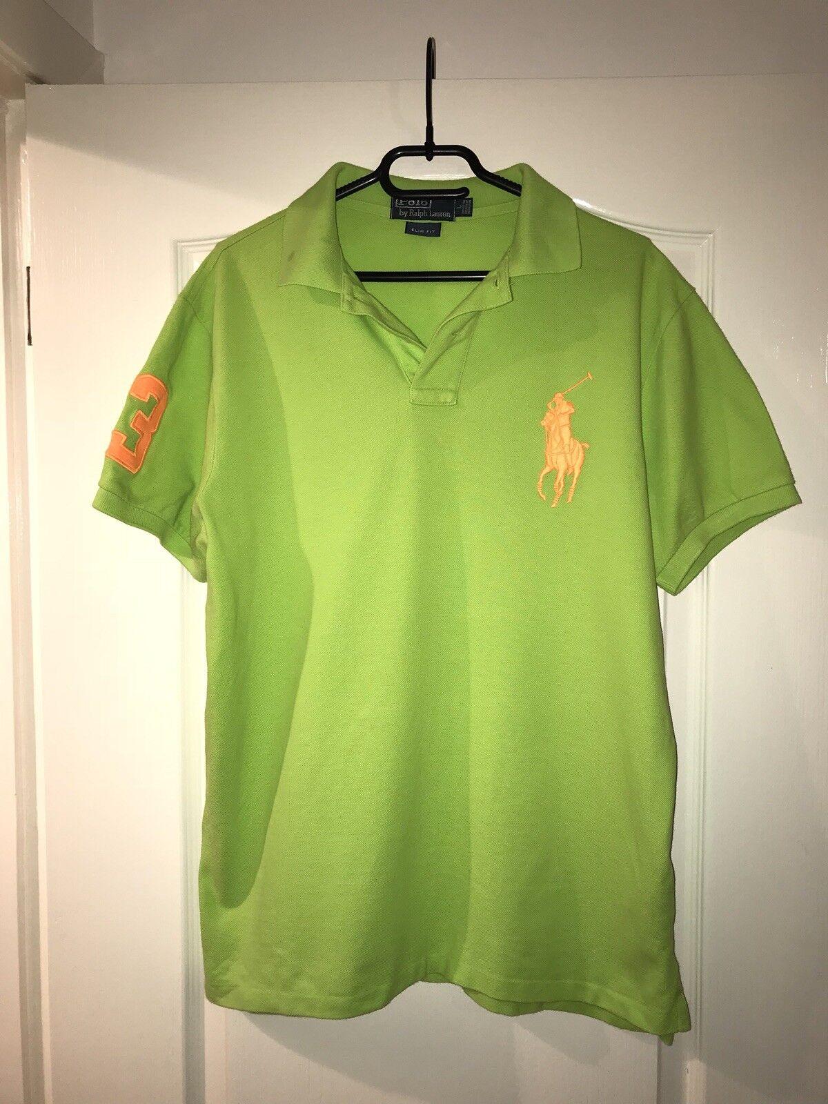 aaba079b5 Men s Lauren Green orange Slim Fit Shirt Size Large Polo Ralph ...