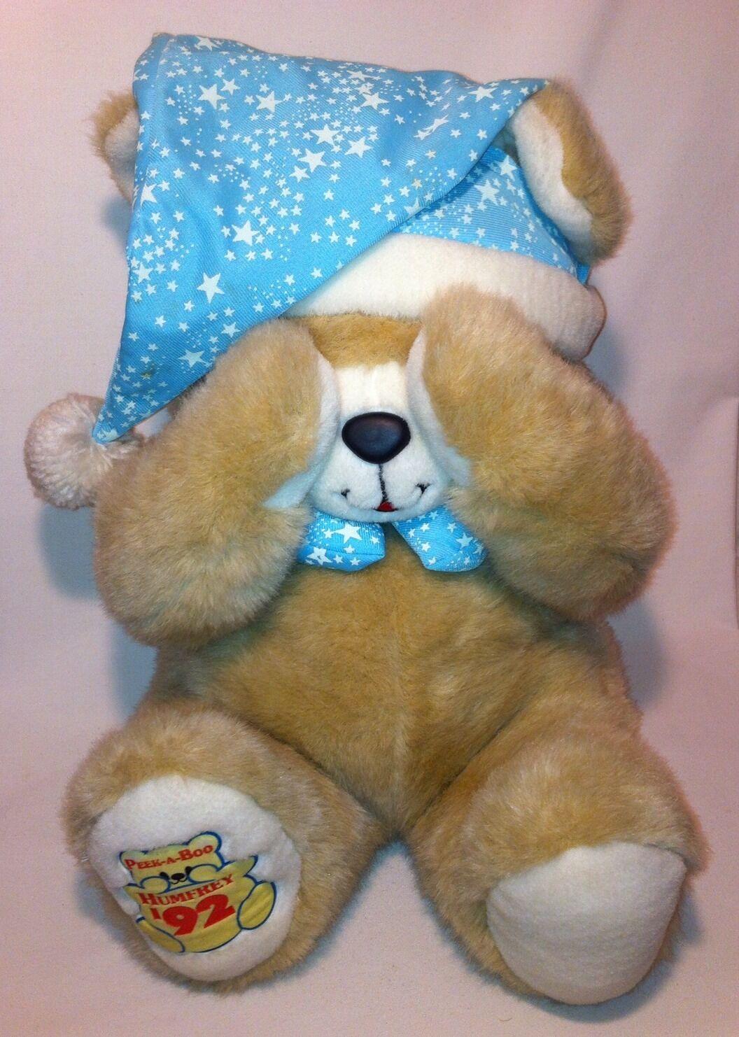 Plush Teddy Bear Peek A Humprey Vintage Stuffed Animal Magnetic Paws