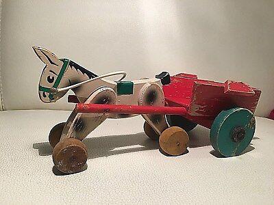 Bellissimo Po La Pola Cavallino Carretto Legno Vintage Rare Toy Wooden Toy