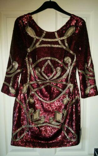 bordeaux brodée d'argent fils à Superbe robe Bnwt mini et 8 Uk l'aiguille aux nZ8XNwPk0O