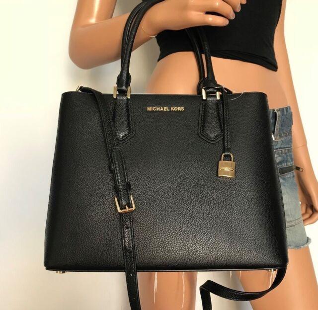 a58be9d20ae3 Michael Kors Adele Large Satchel Leather Crossbody Bag Black for ...