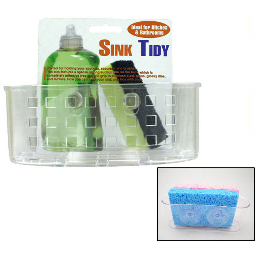 Kitchen Sink Caddy Organizer Sponge Dish Brush Holder Suction Cup Clear Plastic For Sale Online