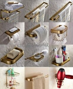 Antique Brass Bathroom Hardware Bath Accessory Set Towel Bar Hook
