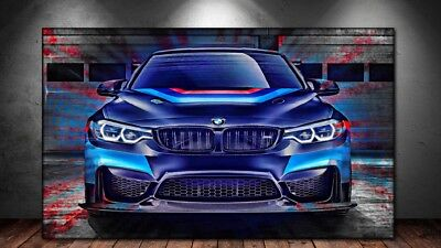 LEINWAND BILD ER XXL POP ART BMW M4 ABSTRAKT BUNT DEKO GRAFFITI WAND POSTER