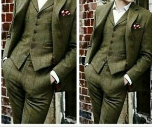 Olive-Green-Tweed-Men-039-s-Suit-Slim-Fit-40-42-44-46-48-Custom-3-Pieces