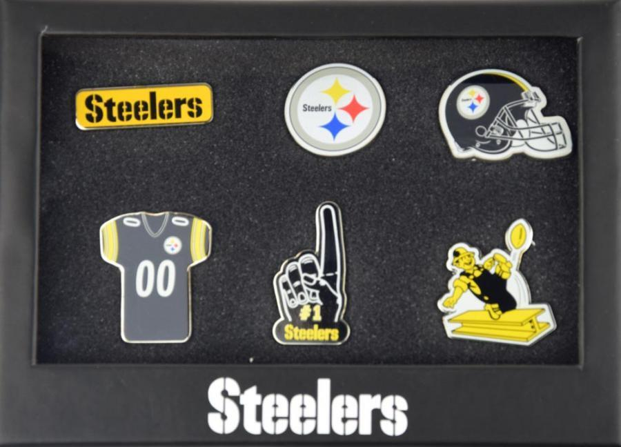 Forever Collectibles Pittsburgh Steelers 6 Piece Pin Badge Set Pin NFL NEW