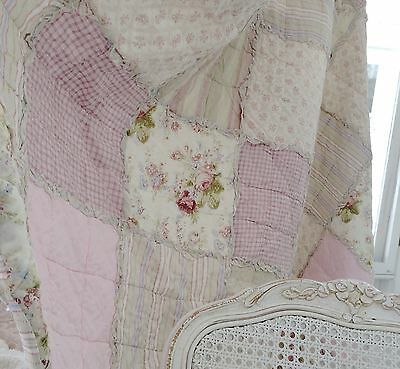 Shabby French Country Chic Baby Cot Crib Pink Rose Rag Ruffle Patchwork Quilt Nw