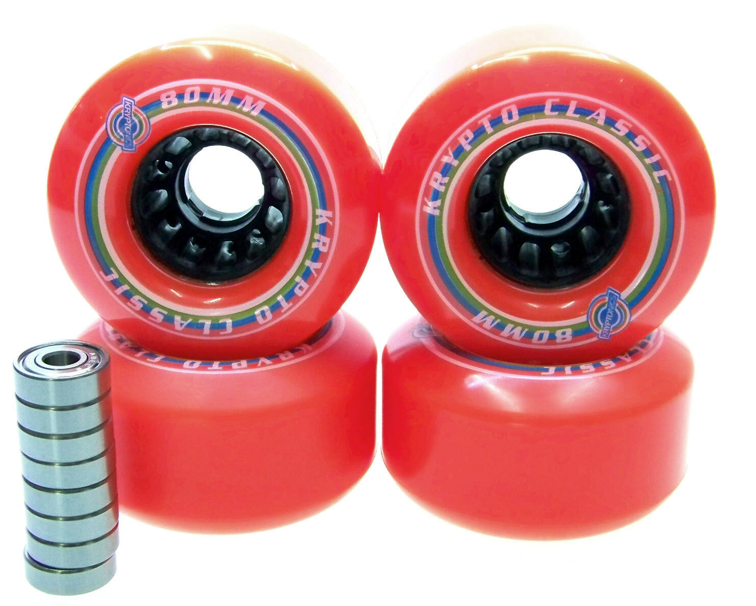 Kryptonics Classic 80mm   80A Longboard wheels bearing ABEC 5 7 9 RED