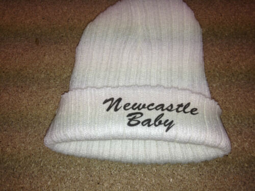 EMBROIDERED babys personalised FOOTBALL  hat with NEWCASTLE BABY  FREE P/&P