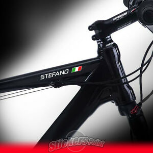 4 adesivi BICI: 2 NOME PERSONALIZZATO + 2 BANDIERA ITALY tricolore stickers bike