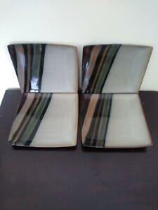 Sango AVANTI BLACK 4721 7 3/4 inches  Square Stoneware Salad Plates Set 4