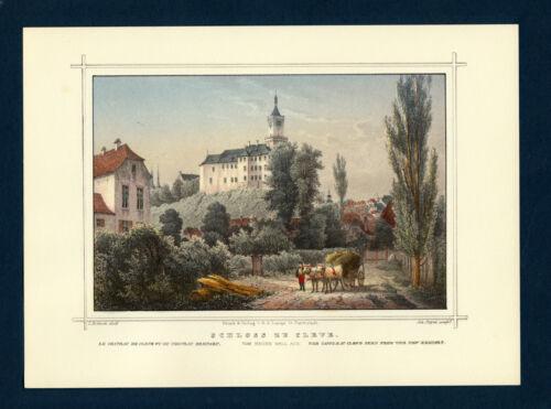 handkolorierte Reproduktion in Lichtdruck  Niederrhein Kleve Cleve Schloss zu