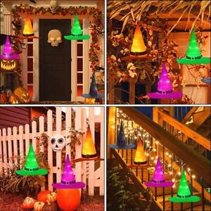 Halloween-Decorations-Outdoor-8Pcs-Hanging-Lighted-Glowing-Witch-Hat-36ft-Light