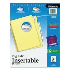 Avery Insertable Big Tab Dividers 5 Tab Letter 072782111106