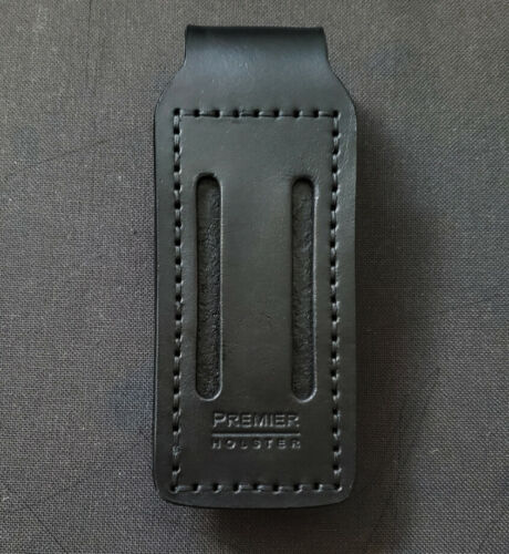 Universal Single Leather Magazine Pouch Black fits 9mm .40 Double Stack Mag