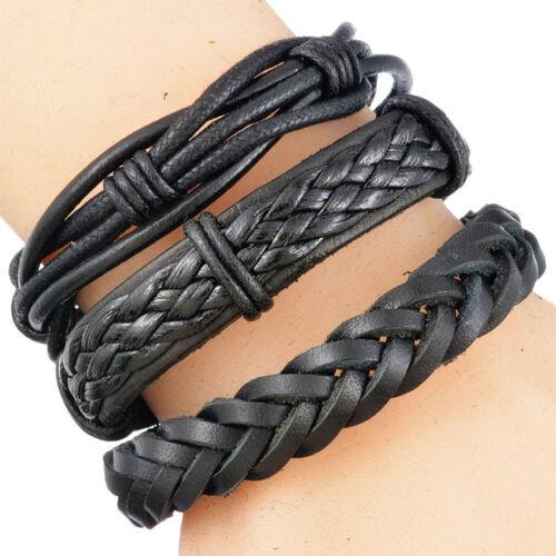 1Set Herren Armkette Armband Armschmuck Schwarz Leder Geflochten Verstellbar JO