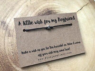 A Little Wish For My Boyfriend Message Card Tie Wish Bracelet His Valentines