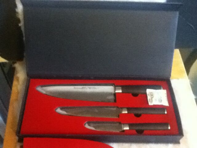 Sedge Knife Set 3 Pcs Chef S Utility Paring Sm Series Japanese Aus8 Steel With For Sale Online Ebay