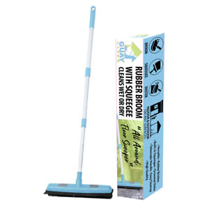 Guay Clean Soft Bristle Rubber Broom Sweeper Squeegee with Telescopic Handle